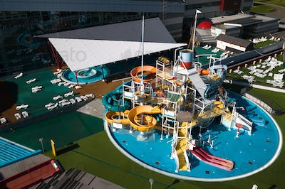 Top view of an indoor water Park with slides and a swimming pool in Minsk.Belarus