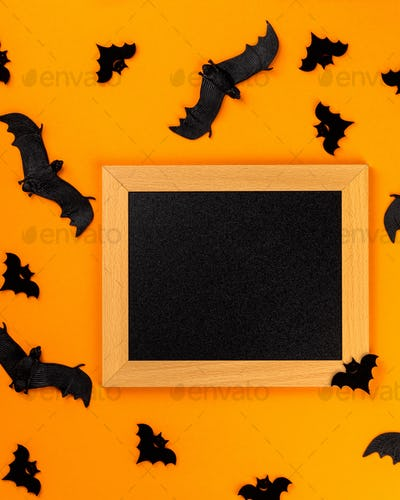 Halloween postcard. Traditional festival of autumn. Decoration and party concept .