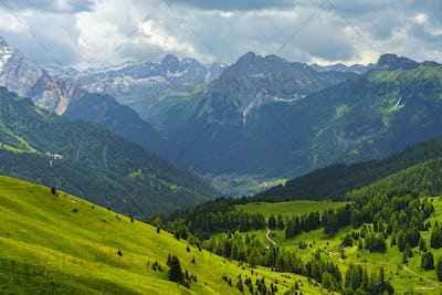 Mountain landscape along the road to Sella pass, Dolomites