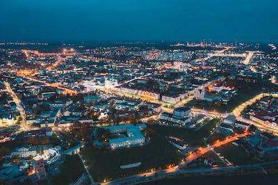 Grodno, Belarus. Night Aerial View Of Hrodna Cityscape Skyline. Famous Historic Landmarks In