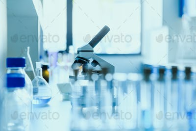 modern scientific medical equipment at testing laboratory in clinic, chemical laboratory