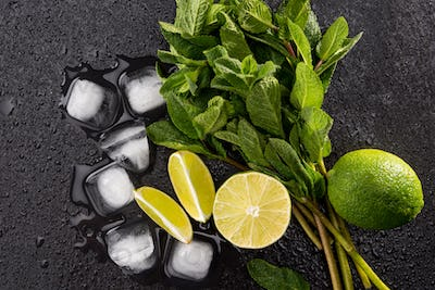 Top view of ice cubes and mojito cocktail ingredients on black slate board, cocktail drinks concept
