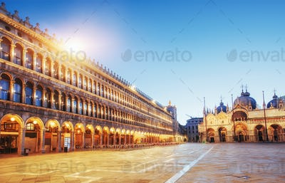 The night scene of San Marco square, Venice Italy