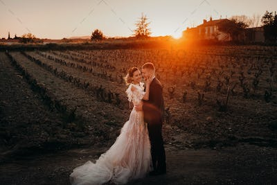 Wedding couple at sunset in France.Wedding in Provence.Wedding photo shoot in France