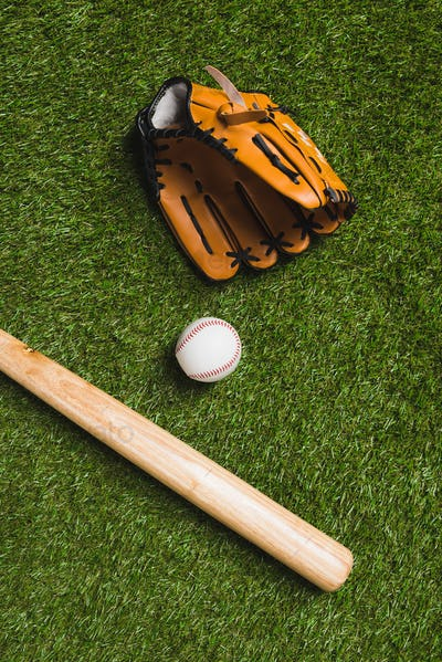 top view of baseball bat with ball and glove on grass
