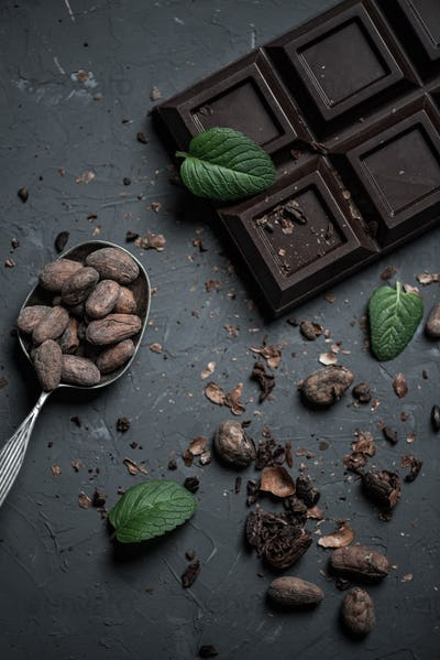 top view of chocolate bar and spoon with cocoa beans and mint leaves