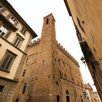 Early morning view of a quiet street in the center of old Florence. Italy. Tuscany
