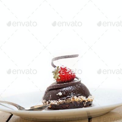 fresh chocolate strawberry mousse