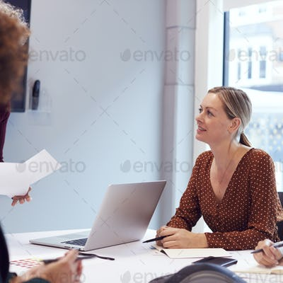 Mature Businesswoman Sitting At Table In Office  Meeting Room