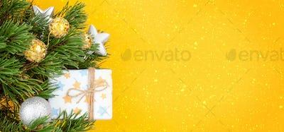 Christmas greeting card with fir tree