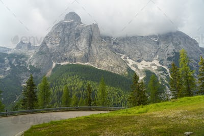 Mountain landscape along the road to Fedaia pass, Dolomites