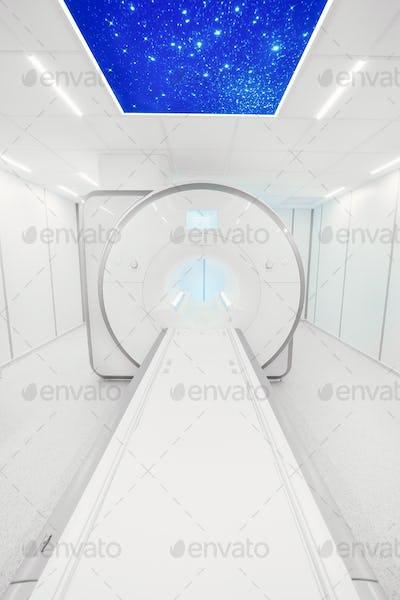 MRI - Magnetic resonance imaging scan device. MRI scaner room