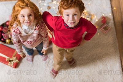 overhead view of smiling little boy and girl looking at camera