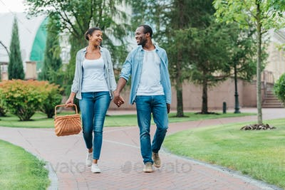 african american couple with picnic basket holding hands while walking in park