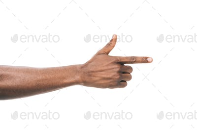 cropped shot of african american person pointing away with finger isolated on white