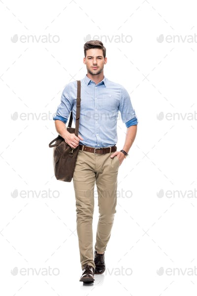 young handsome man with leather briefcase isolated on white