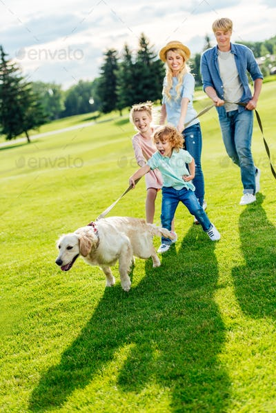 happy young family with two kids walking with dog in park