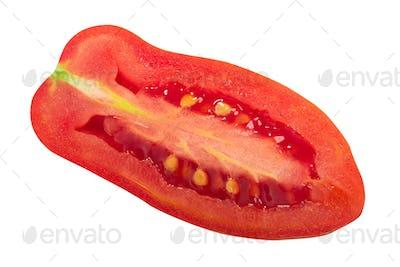 Naples Finger Italian heirloom tomato half, isolated, top  view