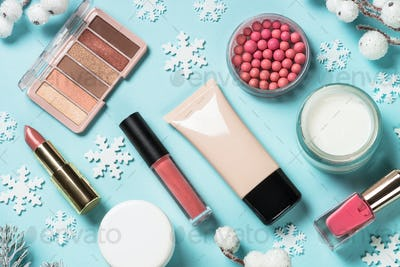 Makeup products, skincare product with christmas decorations