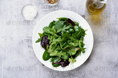 Green salad with leaves, top view