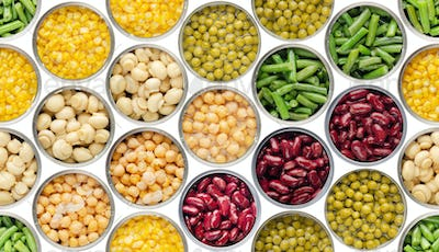 Isolated on white canned food seamless background