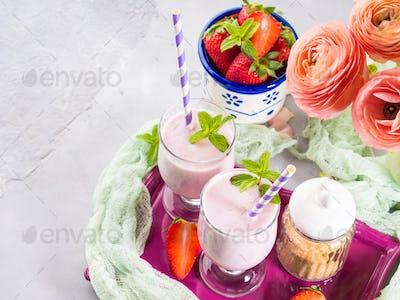 Strawberry milk shake for breakfast