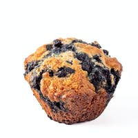 Homemade blueberry muffin isolated on white