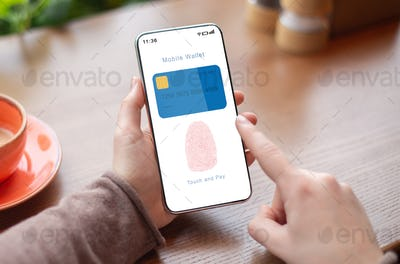 Person Holding Phone Showing Mobile Wallet App With Fingerprint Icon