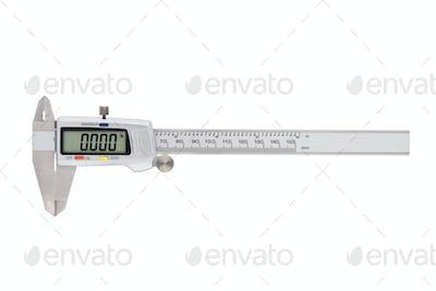 Metal digital caliper isolated on white