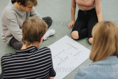 Teenagers sit in a circle on the floor and prepare a project for math classes together