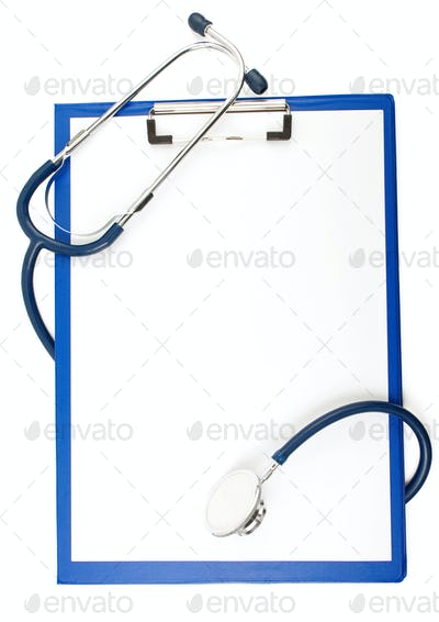 stethoscope with form blank isolated on white