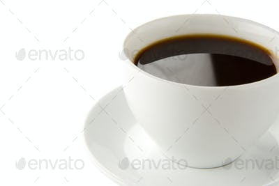 cup full of coffee isolated on white