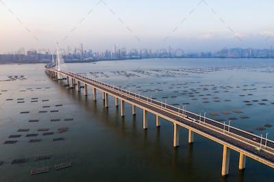 Hong Kong- 16 October 2018: Shenzhen Bay Bridge