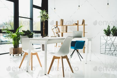 interior of modern office with white walls