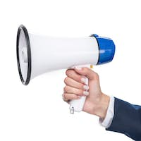 cropped view of businesswoman holding megaphone, isolated on white