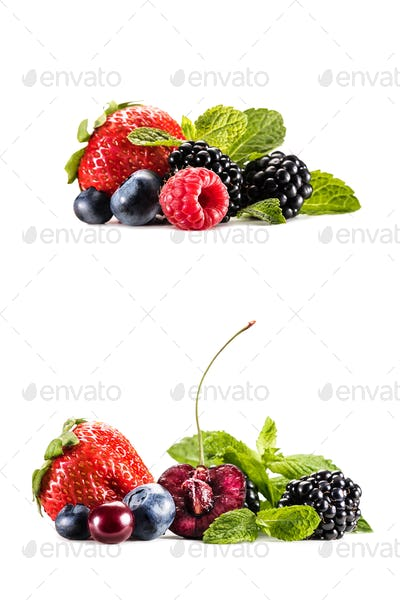 collage with piles of various berries isolated on white