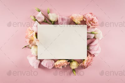 Top view of blank card and beautiful blooming flowers isolated on pink