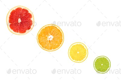 fresh slices of citrus fruits isolated on white