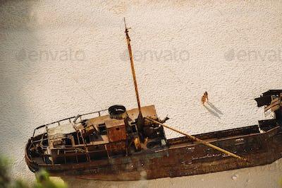 Navagio beach. Shipwreck bay, Zakynthos island, Greece. View from above