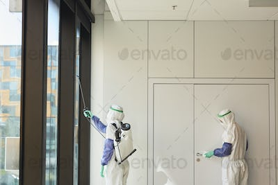 Graphic Background of Workers Disinfecting Office
