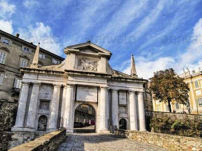 Gate in Bergamo, Lombardy, Italy