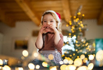 Portrait of small girl indoors at home at Christmas, laughing
