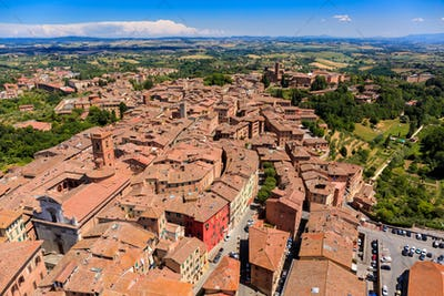 Aerial view of Siena old town, medieval town with ancient architecture, Tuscany, Italy