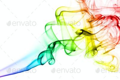 Rainbow smoke on white background