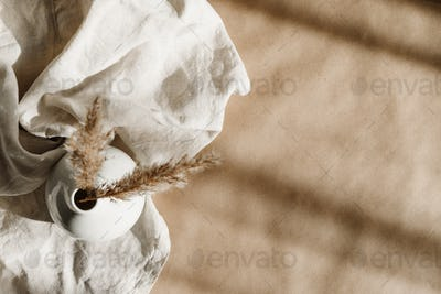 Minimalist kraft paper  background with a ceramic vase and creative shadows.