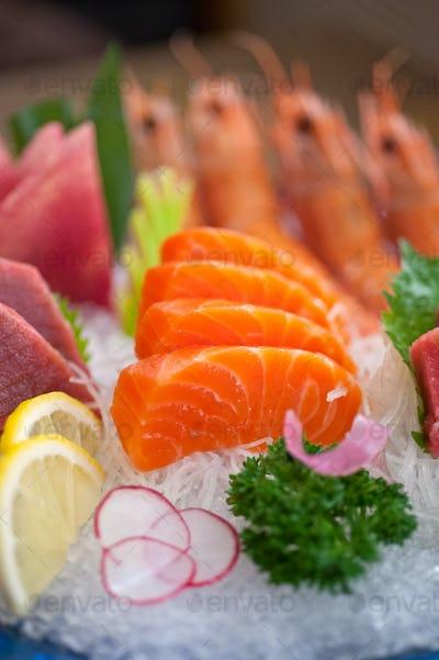 Japanese style assorted sashimi dish