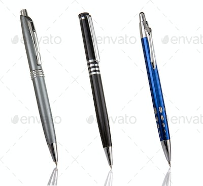 black, blue and silver shining pens isolated on white