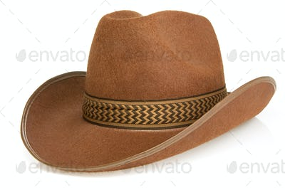 brown cowboy hat isolated on white