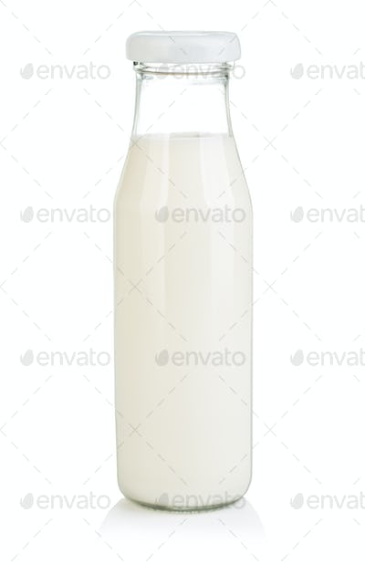 Bottle with milk isolated on white background.