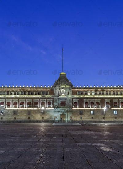 Illuminated Palacio Nacional at night, Mexico City, Federal District, Mexico